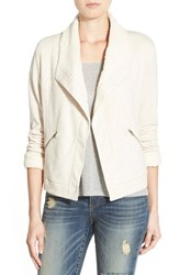 Women's Caslon Knit Jacket With Faux Shearling Lining Heather Oatmeal