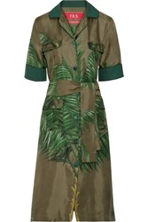 F.R.S For Restless Sleepers Meti Belted Printed Silk Twill Dress Army Green