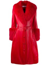 Saks Potts Belted Leather Midi Coat Red