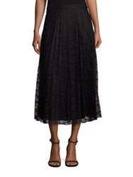Saks Fifth Avenue Pleated Lace Midi Skirt Black