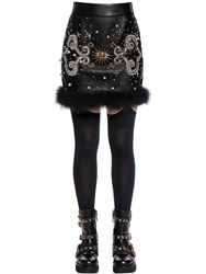 Fausto Puglisi Embellished Leather Skirt W Feathers