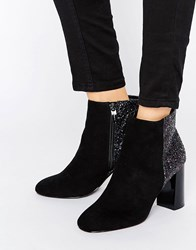 Head Over Heels By Dune Odessa Glitter Mirror Heeled Ankle Boots Bla Black