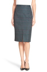 Halogen Slit Front Pencil Skirt Black Teal Pattern