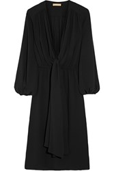 Michael Kors Wrap Effect Silk Georgette Dress Black