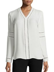 Elie Tahari Damaris Silk Blouse White Black