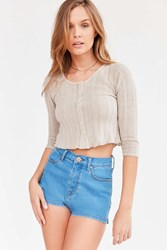 Kimchi And Blue Maisy Button Front Thermal Crop Top Light Grey