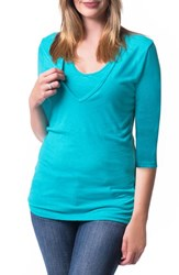 Women's Bun Maternity 'Softie' Three Quarter Sleeve Maternity Nursing Tee Aqua