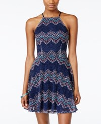 City Studios Juniors' Printed Lace Crisscross Back Fit And Flare Dress Navy Aqua