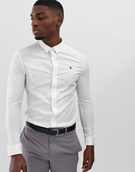 Jack Wills Skinny Fit Poplin Stretch Shirt In White