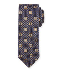 Ted Baker Brushed Neat Square Print Tie Gold