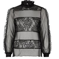 River Island Womens Black Lace And Dobby Mesh Panel Top