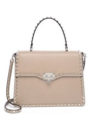 Valentino Rockstud Leather Top Handle Satchel Poudre Pastel Grey Black