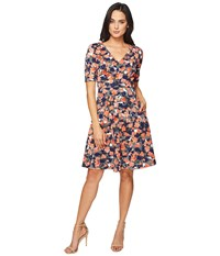 Donna Morgan Pique Fit Flare Dress With V Neck Ink Headlight Multi Women's Dress