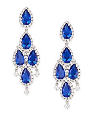 Cz By Kenneth Jay Lane Pear Stone Chandelier Drop Earrings Silvertone Blue