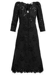 Rebecca Taylor Terri Broderie Anglaise Linen Dress Black