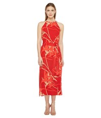 Halston Sleeveless High Neck Printed Slip Dress Chili Paradise Print Women's Dress Red