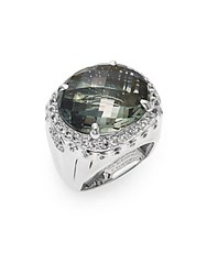 John Hardy Bamboo Green Amethyst White Sapphire And Sterling Silver Ring Silver Green