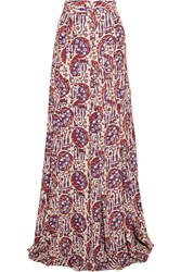 Just Cavalli Printed Crepe De Chine Maxi Skirt Purple