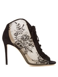 Jimmy Choo Freya 100Mm Open Toe Lace Ankle Boots Black