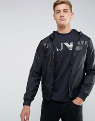 Armani Jeans Mixed Fabric Large Eagle Zip Through Hooded Sweat Black Grey