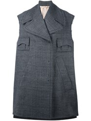 N 21 No21 Checked Sleeveless Oversized Coat Grey
