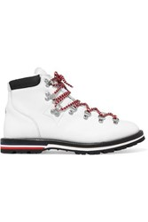 Moncler Blanche Shearling Lined Leather Ankle Boots White