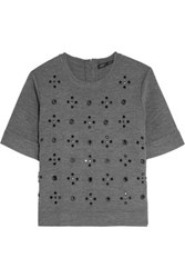 Marc By Marc Jacobs Anja Embellished Stretch Wool Blend Top Gray