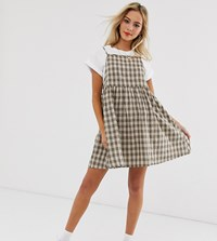 Daisy Street Mini Pinafore Swing Dress With Pleated Skirt In Check Brown