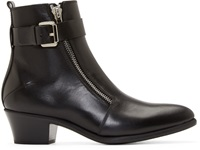 Cnc Costume National Black Leather Zip Ankle Boots