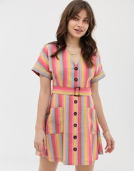 Moon River Rainbow Stripe Skater Dress With Buton Down Front Multi