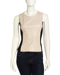 Vakko Sleeveless Leather Combo Top Cream Black