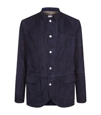 Brunello Cucinelli Tailored Suede Jacket Male Navy