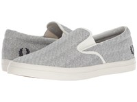 Fred Perry Underspin Slip On Printed Canvas Porcelain Navy Shoes Gray