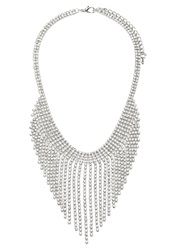 Forever 21 Rhinestone Fringe Statement Necklace Silver Clear