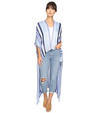 Bcbgeneration Seaside Stripe High Low Hazy Blue Women's Clothing