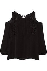 Thakoon Cutout Embroidered Silk Chiffon Top Black