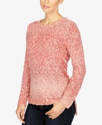 Lucky Brand Lace Up Ombre Sweater Red Multi