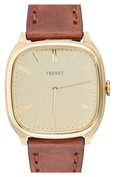 Tsovet 'Jpt Tw35' Square Leather Strap Watch 35Mm Brown Gold