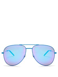 Saint Laurent Classic 11 Mirrored Aviator Sunglasses Blue