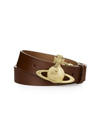 Vivienne Westwood Gold Orb Buckle Belt 82010006 Tan