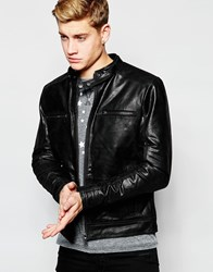 Solid Leather Biker Jacket Black