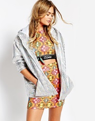 Jaded London Hooded Festival Jacket In Holographic Fabric Silver
