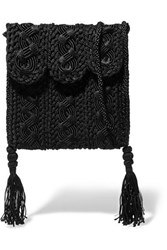 Carrie Forbes Youssef Small Crocheted Cord Shoulder Bag Black