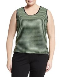 Ming Wang Striped Stretch Knit Tank Green Black