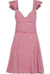 Petersyn Cate Ruffle Trimmed Gingham Cotton Poplin Dress Red