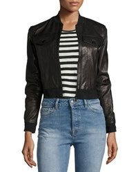 J Brand Harlow Zip Front Leather Jacket Black
