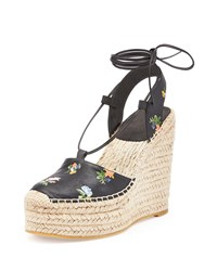 Grunge Flower Print Leather Espadrille Black Multi Saint Laurent Noir Multi