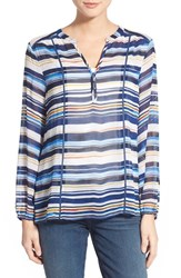 Women's Casual Studio Blouse Blue Multi Stripe