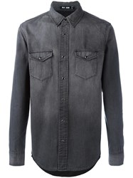 Blk Dnm Front Pockets Denim Shirt Grey