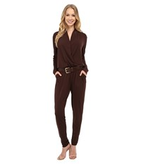 Michael Michael Kors Belted Jumpsuit Chocolate Women's Jumpsuit And Rompers One Piece Brown